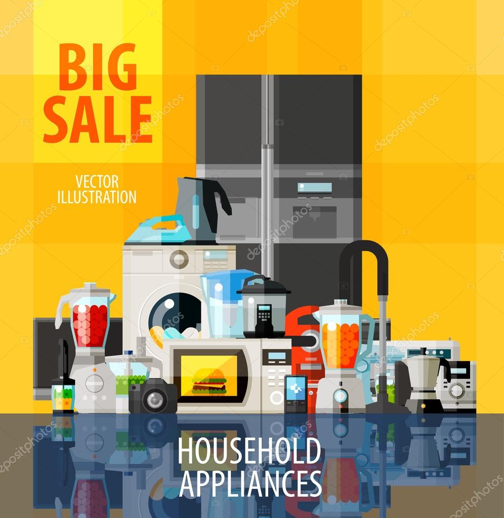 household appliances vector logo design template big or collection of home appliances vector flat illustration vector by sergeypykhonin