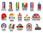 Länderna i världen vektor logotyp formgivningsmall. resor, resa eller flagga symbolen. — Stockvektor