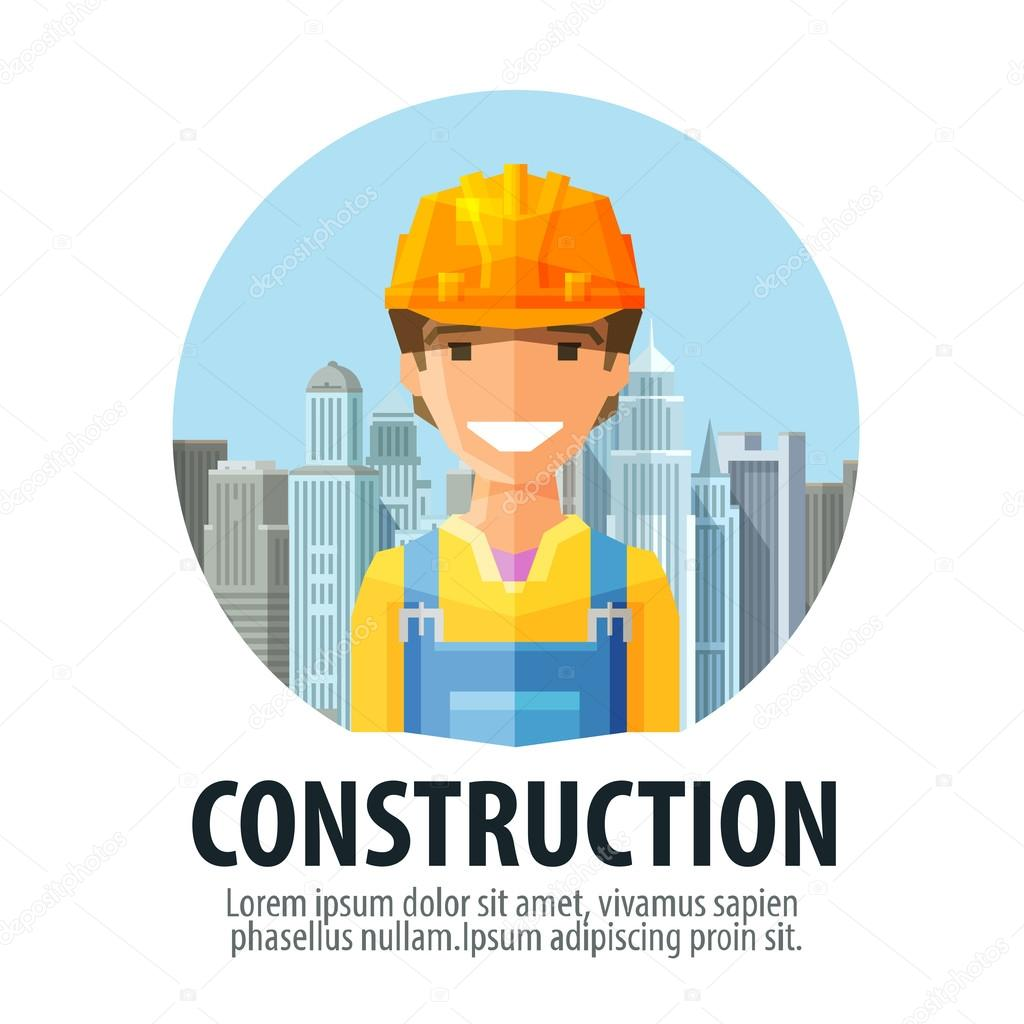 Construction company vector logo design template. big city ...