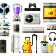 Home appliances icons set. collection of elements - fan, blower, mixer, blender, game console, kitchen stove, conditioning, headphones, juice extractor, speaker, radiator, washing machine, tablet, tel — Stock Vector #75892707