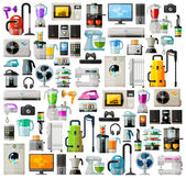 Appliances a set of colored icons. Collection of items - TV, washing machine, vacuum cleaner, computer, phone, headphones, kettle, toaster, game console, iron and other — Stock Vector