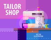 Tailor shop vector logo design template. electric sewing machine or atelier icon — Stock Vector
