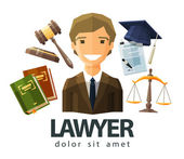 Lawyer, attorney, jurist vector logo design template. jurisprudence, law or court icon. flat illustration — Stock Vector