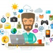 A man with a beard behind the laptop on the Internet. Vector illustration — Stock Vector #78351506