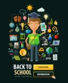 School vector logo design template. education or science icons — Stock Vector