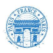 France vector logo design template. stamp or Paris, architecture icon — Stock Vector