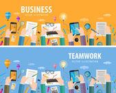 Business vector logo design template. teamwork or company icon — Stock Vector