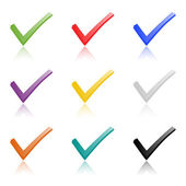 Set of colored hooks with shadow — Stock Vector