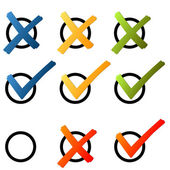Choice - cross and hook colorful — Stock Vector