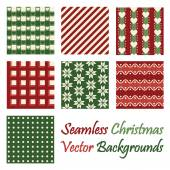 Seven seamless christmas vector backgrounds on white — Stock Vector