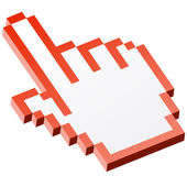 3D Pixel graphic hand - forefinger red — 图库矢量图片
