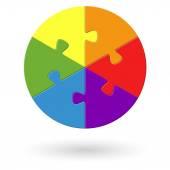 Round Puzzle - 6 options — Wektor stockowy