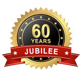 Jubilee Button with Banner - 60 YEARS — Stock vektor