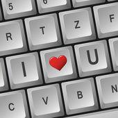 Computer keyboard - I Love U — Stock Vector