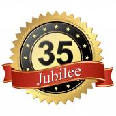 Jubilee button with banners - 35 years — Stock Vector
