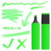 Colored highlighter with markings — Vettoriale Stock