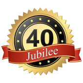 Jubilee button with banners - 40 years — Stock Vector