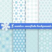 Collection of seamless snowflake backgrounds — Stock Vector