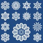 Collection of different white snowflakes — Stock Vector