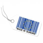 Hangtag with MADE IN EUROPE — Stockvektor