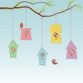 Birds Houses with some birds — Stock Vector
