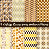 Collection seamless vintage 70s backgrounds — Stock Vector