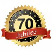 Jubilee button with banners - 70 years — Stock Vector