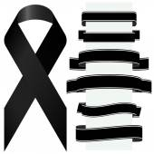 Black mourning ribbon and banners — Stock Vector