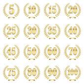 Laurel wreath collection for jubilee — Stock Vector