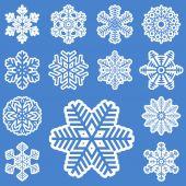 Coleção de diferentes flocos de neve brancas — Vetor de Stock