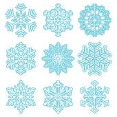 Collection of different blue snowflakes — Stock Vector