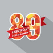 89th Years Anniversary Celebration Design — Vector de stock