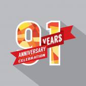 91st Years Anniversary Celebration Design — Stockvektor