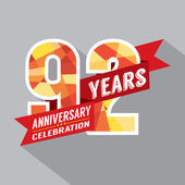 92nd Years Anniversary Celebration Design — Vector de stock