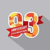 93rd Years Anniversary Celebration Design — Stockvektor
