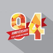 94th Years Anniversary Celebration Design — Vector de stock