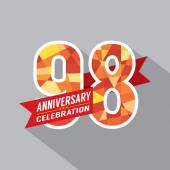 98th Years Anniversary Celebration Design — Vettoriale Stock