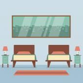 Plochý design dvě postele interiéru vektorové ilustrace — Stock vektor