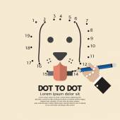 Dot to Dot Animal Games Vector Illustration — Vector de stock