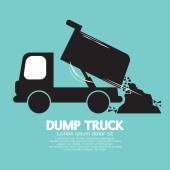 Dump Truck Carried And Unloading Loose Material  — Stock Vector
