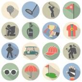 Modern Flat Design Golf Icon Set Vector Illustration — Stock Vector