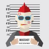 Mugshot Of Gangster Vector Illustration — Stock Vector