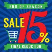 15 Percent End of Season Sale Vector Illustration — Stock Vector