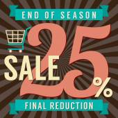 25 Percent End of Season Sale Vector Illustration — Stock vektor