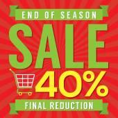 40 Percent End of Season Sale Vector Illustration — Stockvektor