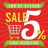 5 Percent End of Season Sale Vector Illustration — Stockvektor