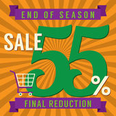 55 Percent End of Season Sale Vector Illustration — Stock Vector