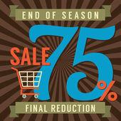 75 Percent End of Season Sale Vector Illustration — Stockvektor