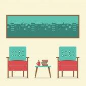 Platt design tomma platser vintage inredning vektor illustration — Stockvektor