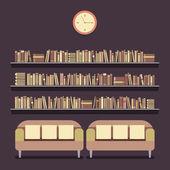 Flat Design Reading Seats and Bookshelves Vector Illustration — Stock Vector
